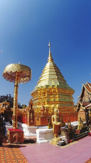Religion Place Of Worship Spirituality Built Structure Gold Colored Building Exterior Clear Sky Architecture Outdoors No People Sky Day Buddhist Temple Buddhism Timeless Unique Travel Destinations Spirituality Thailand Chiangmai