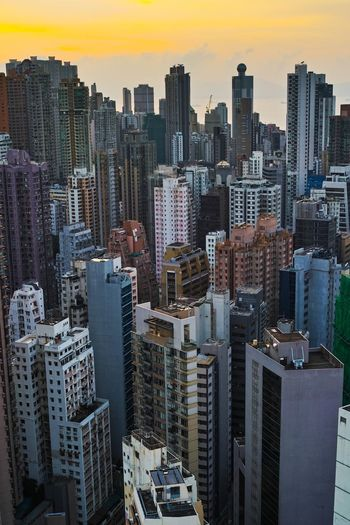 Vertical city Skyscraper HongKong Rooftop City Vertical Cityscape Architecture Sunset Housing Citylife Urban Landscape