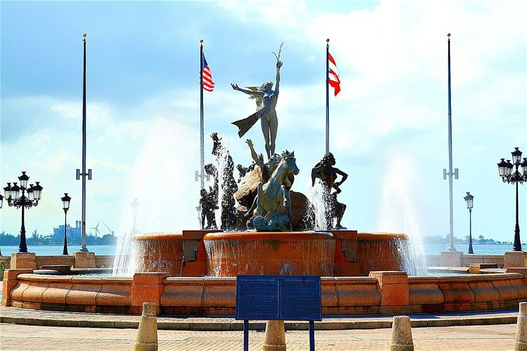 Fuente Raíces (Roots Fountain) Old San Juan San Juan Puerto Rico Places To Go Travel Destinations Culture Heritage History Caribbean Destination Travel Flag Bandera Historical Monuments Historical Place Fountain Roots Raíces