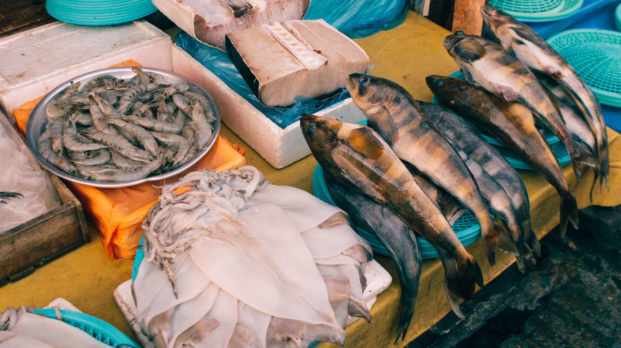 High angle view of fish in market