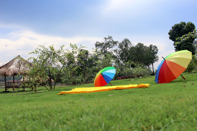 Full Color🌈 Wannza Tanjungpinang Travel Destinations Garden Garden Photography Umbrella Colors Colorful colour of life EyeEmNewHere EyeEm Eyeemphotography EyeEm Best Shots EyeEm Gallery EyeEm Nature Lover EyeEm Selects First Eyeem Photo Tree Multi Colored Tent Sky Grass Outdoor Play Equipment Sun Lounger Rainy Season