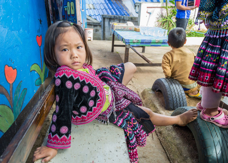 Chiangmai Thailand Tribal Adult Child Childhood Day Friendship Girls Leisure Activity Lifestyles Outdoors People Portrait Real People Sitting Standing Tribal Village Tribals Two People