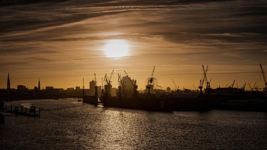 Sunrise in the harbour of hamburg