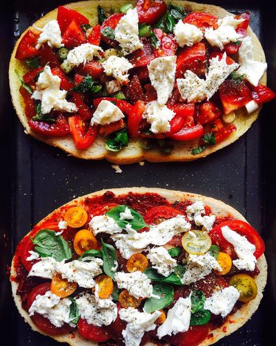 Pizza Tomato Ready-to-eat Food Food And Drink Freshness No People Fast Food Appetizer Indoors  Close-up Italian Food Garnish Flatbread