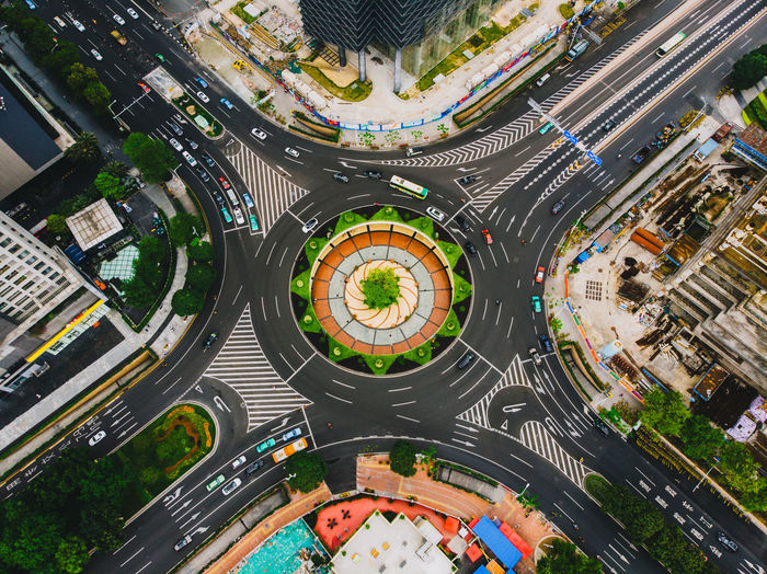 High Angle View Of Traffic Circle In City