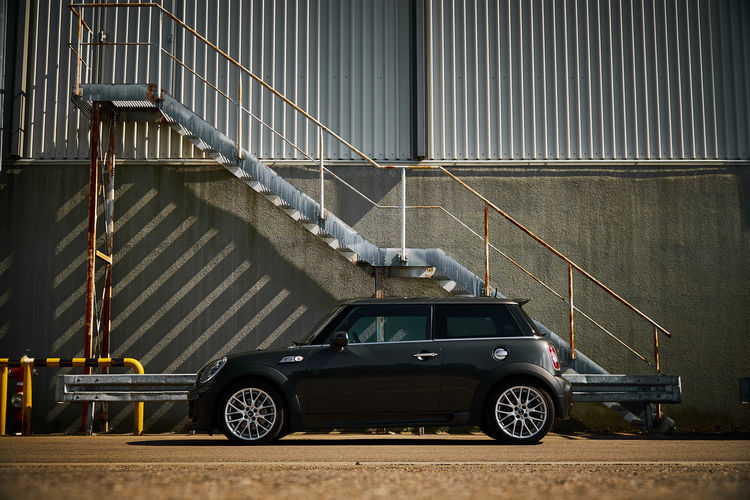 Mini Side view Mini Cooper Architecture Building Exterior Built Structure Car Car Side Mirror Land Vehicle Mode Of Transportation Motor Vehicle No People Railing Retro Styled Staircase Steps And Staircases Transportation