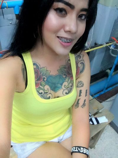Hello World That's Me Selfie ✌ Tattoo Girl Thai Girl Asian Girl Beautiful Girl My Body Only  Smile My Life
