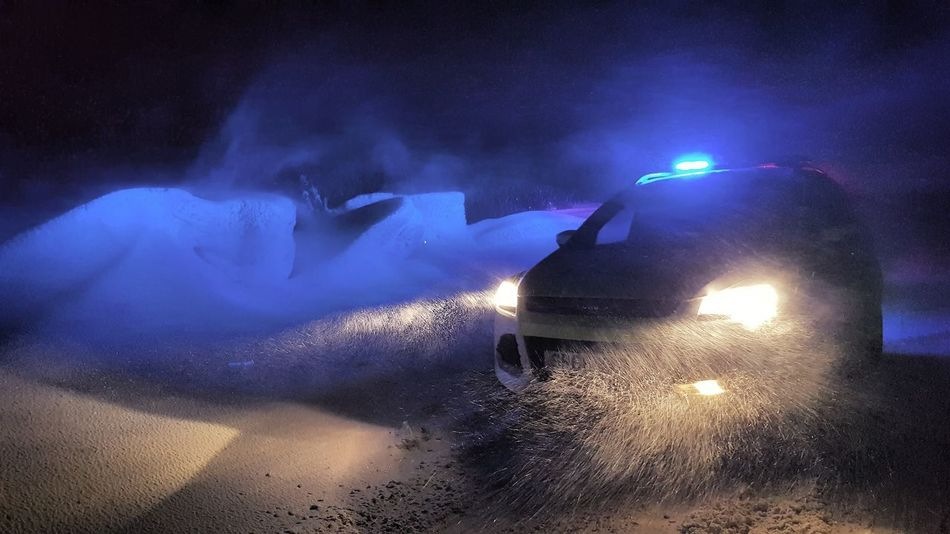 Police car in a blizzard Blizzard Snow Beast From The East Police Police Car Lights Police Car Kuga City Arts Culture And Entertainment