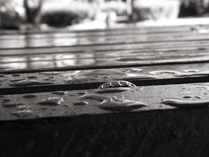 Black And White Photography Bottle Top Check This Out Close-up Day From My Point Of View Man Made Structure No People Outdoors Raindrops Table Tadaa Community