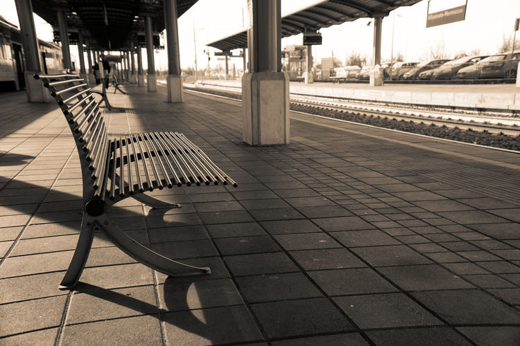 Rail Transportation Railroad Station Platform Railroad Station Transportation Public Transportation Track Railroad Track Architecture Empty Mode Of Transportation Seat Absence No People Travel Train Built Structure Tile Outdoors Tiled Floor Day Architectural Column Flooring Station Platform Paving Stone