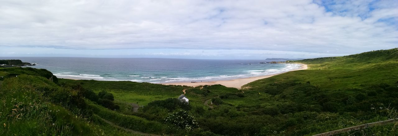 Green Ireland, North coast Water Wave Sea Beach Sand Tree Panoramic Sky Horizon Over Water Grass EyeEmNewHere The Traveler - 2018 EyeEm Awards