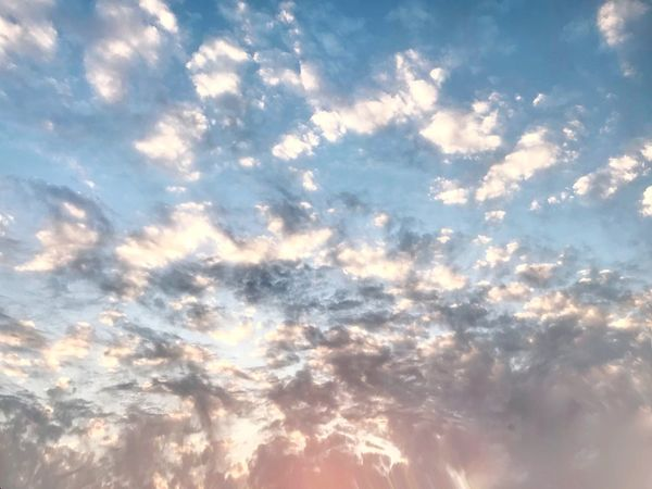Cloud - Sky Low Angle View Beauty In Nature Nature Backgrounds Sky Scenics Sky Only Tranquil Scene Tranquility Cloudscape Majestic Dramatic Sky Sunset No People Full Frame Outdoors Idyllic Heaven Sunlight