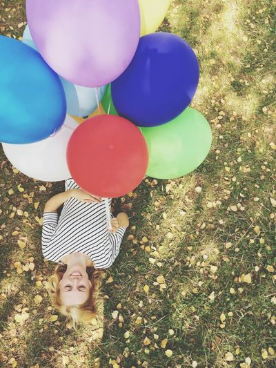 Girl Hanging Out Woman Balloons Nature