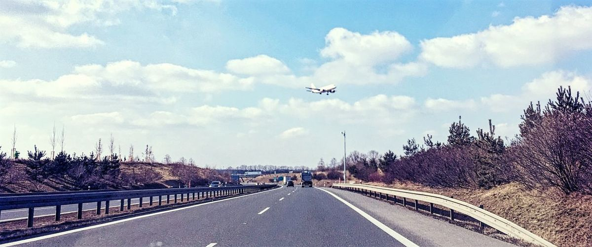 Landing 🛩 Transportation Road Flying Sky Mode Of Transport Journey Day Cloud - Sky Outdoors No People Airplane The Way Forward Travel