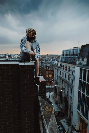 City Cityscape Colors Exploring London Rooftop Streetwear The Street Photographer - 2018 EyeEm Awards Architecture Building Exterior Built Structure City Cloud - Sky Clouds Day Explore Off White Off White C/o Virgil Abloh One Person Outdoors Portrait Sky Sunset Young Adult