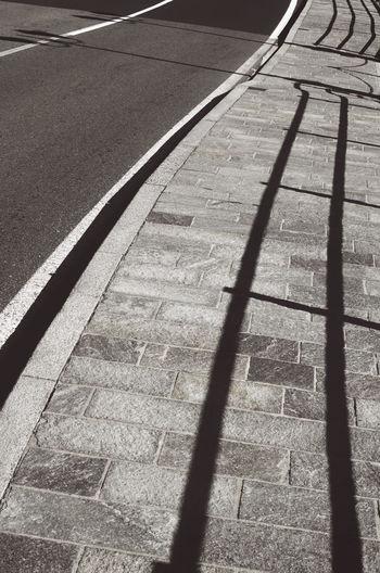 High angle view of shadow on street