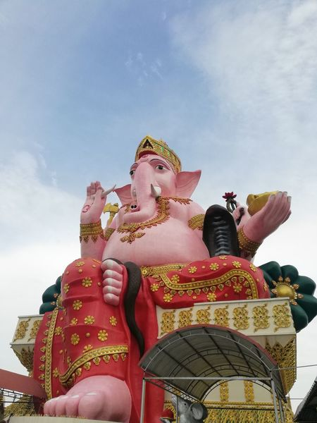 Ganesha Lord Of Success Statue Place Of Worship Sculpture Beauty Religion Cultures Elephant Sky Peace Sign  Idol Ganesha Hinduism Hindu God