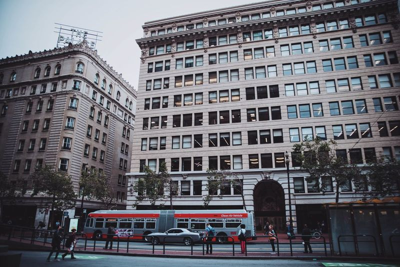 Market Street of San Francisco Architecture Building Building Exterior Built Structure Capital Cities  City City Life City Scape City Street Classical Buildings Day Hotel Moody MUNI San Francisco The Palace Hotel Transportation Travel Destination Travel Destinations VSCO TakeoverContrast