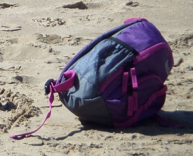 Beach. Sand. Backpack. Holdall. Summer. Colours. Pink Carefree Casual Day Hobbies Leasure Time Leisure Activity Purple Side View