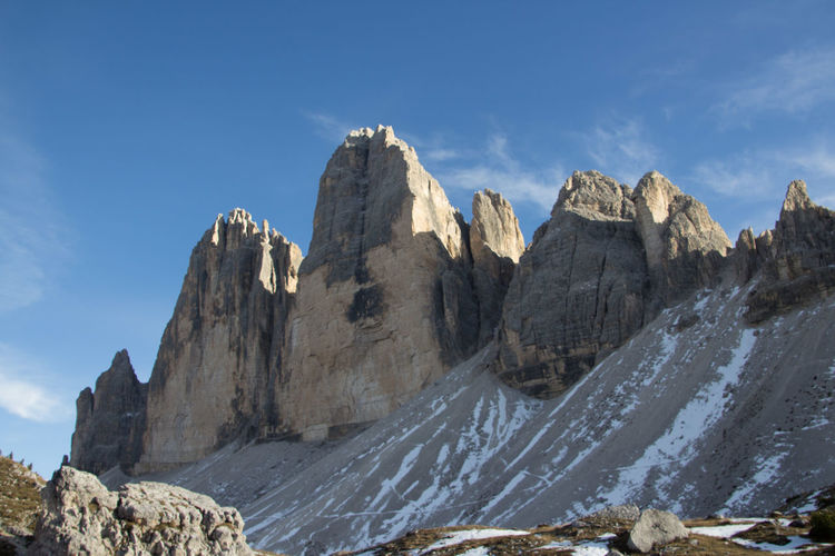 Beautiful National Park Beauty In Nature Day Dolomiti Dreizinnen Formation Of Nature Low Angle View Mountain Nationalgeographic Nature No People Outdoors Physical Geography Rock - Object Rock Formation Scenics Sky Tranquility Water