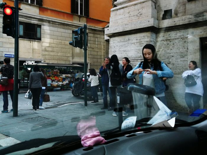 People on street in city