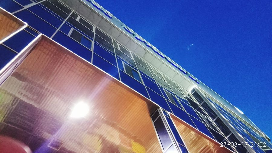 Low Angle View Blue Built Structure Clear Sky Architecture Sky Building Exterior No People Modern Outdoors Solar Panel Day