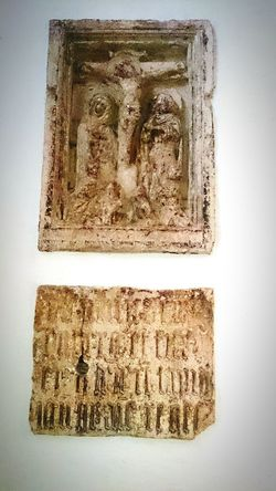 Crucifixion Stone Relief Church Inscription Low Relief Crucifixion Medieval Religious Art Gothic Votive Sculpture Brunswick Braunschweig