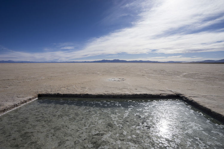 Salt Flats in Argentina Beauty In Nature Blue Calm Cloud Cloud - Sky Day Horizon Over Water Idyllic Nature Outdoors Remote Salt Salt Flats Scenics Sea Shore Sky Tranquil Scene Tranquility Water