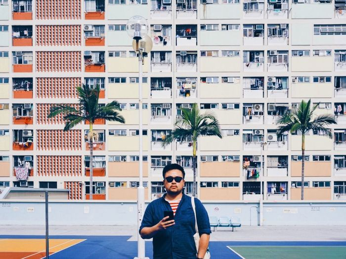 summer x rainbow Choi Hung Estate Hong Kong One Man Only One Person Only Men Business Finance And Industry Adults Only Real People Smiling Portrait Outdoors Architecture Lifestyles Day Colour Your Horizn