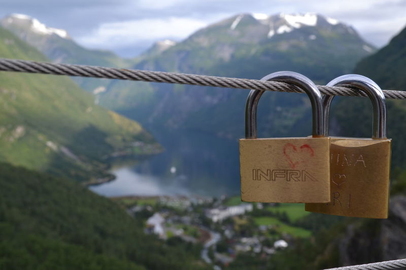 Close-up Few Fjord Geirangerfjord Lock Love Mountains No People Norway Old Rusty Secret Slot Uitzicht