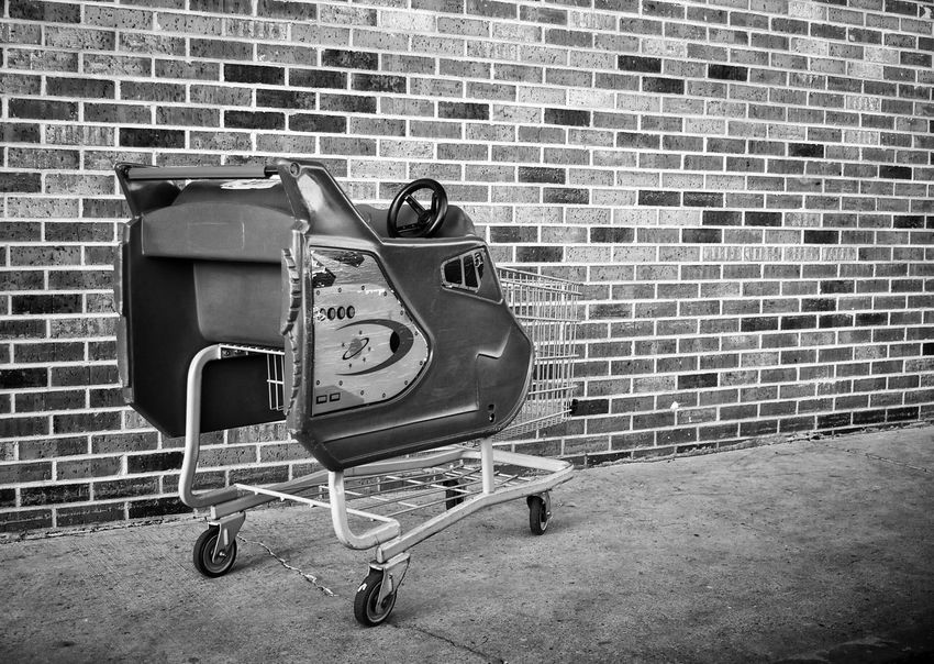 Brick Wall Lines Wall Brick Blackandwhite Noir Shopping Grocery Grocerystore Shopping Cart Buggy