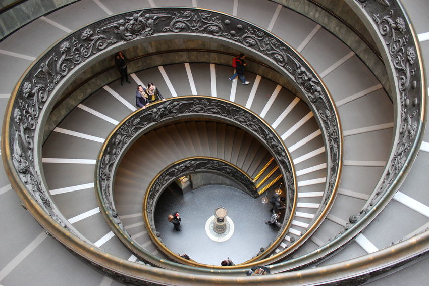 Architectural Feature Architecture Built Structure Day Directly Below Italy Low Angle View Modern Spiral Staircase Stairs Steps Steps And Staircases Tourism Travel Destinations Vatican Museum VaticanCity Vaticano