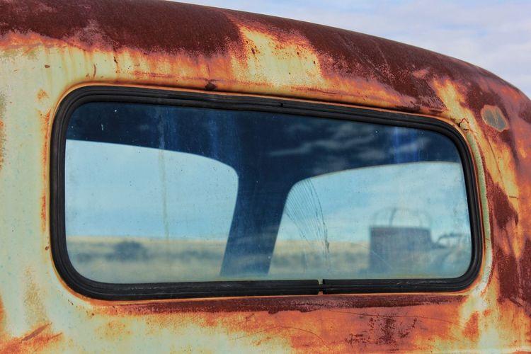 Window of old truck