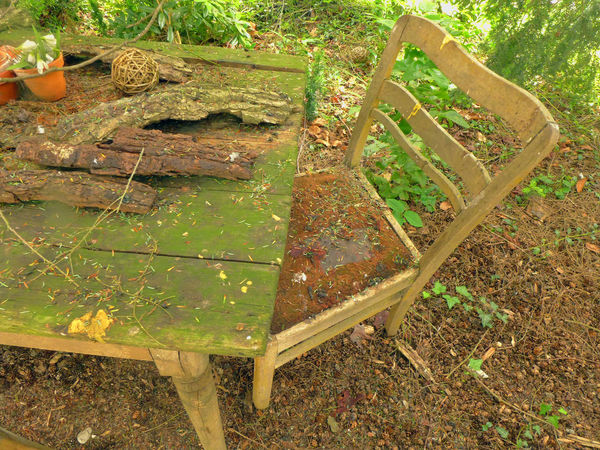 Absence Antique Close-up Front Or Back Yard Garden Photography In My Garden Old Park Table And Chair Tranquility Wodden Texture Wood - Material