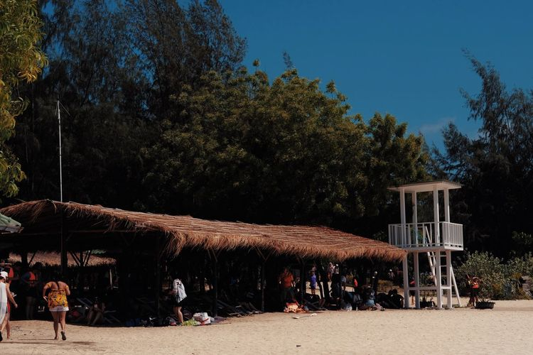 Architecture Beach Blue Building Exterior Built Structure Clear Sky Crowd Day Group Of People Land Men Nature Outdoors People Plant Real People Relaxation Sky Tree