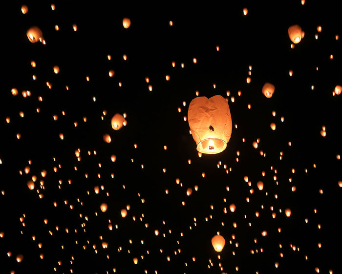Lights Festival Burning Celebration Celebration Of Light Flame Flying Holiday Horizontal Illuminated Lantern Large Group Of Objects Lights Festival Low Angle View Mid-air Night No People Outdoors Paper Lantern Sky The Architect - 2017 EyeEm Awards Been There. Go Higher