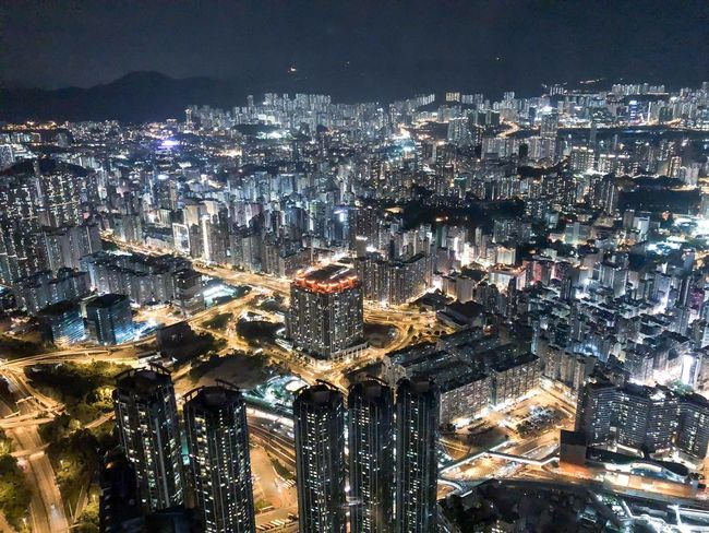 HongKong Architecture Building Exterior Cityscape Illuminated City Built Structure Night Building Office Building Exterior Outdoors Skyscraper City Life Residential District Sky High Angle View Modern