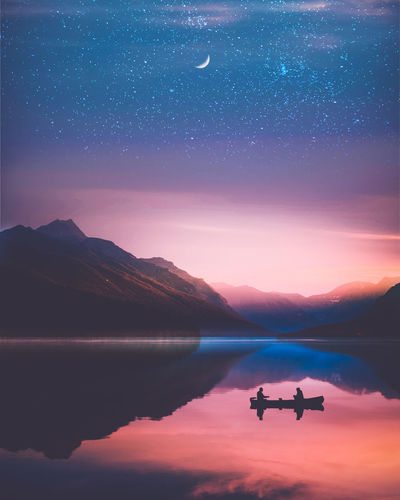 EyeEm Best Shots EyeEm Nature Lover Lovers Astronomy Beauty In Nature Galaxy Lake Mountain Mountain Range Nature Night Reflection Scenics - Nature Sky Space Star Star - Space Summer Sun Sunrise Sunset Tranquility Two People Water Waterfront