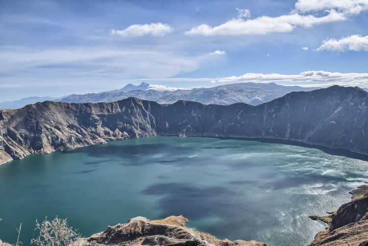 Quilotoa volcano with crater lake