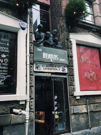 The Beatles Shop Liverpool Thebeatles Text Building Exterior Architecture Built Structure Communication Store Day Outdoors Go Higher