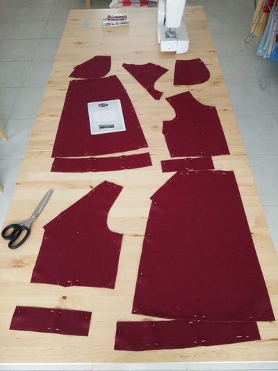 Time to assemble my red Linen Belladone dress by Deer & Doe.