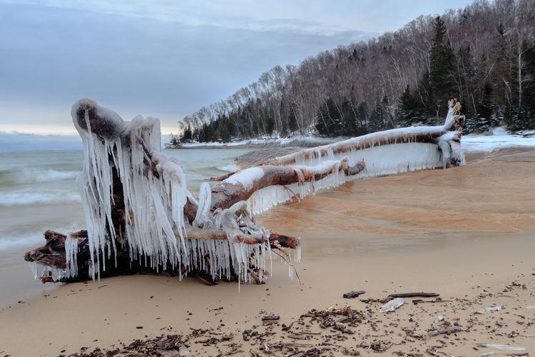 Cold Temperature Ice Nature Pure Michigan Shore Upper Peninsula Winter Winter