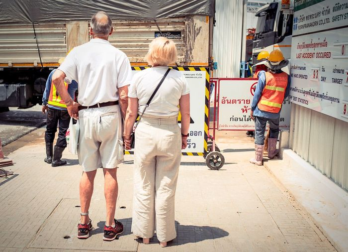 Rear View Men Occupation Full Length Adult City People Real People Street Walking Group Of People Travel Outdoors Day Senior Adult The Art Of Street Photography