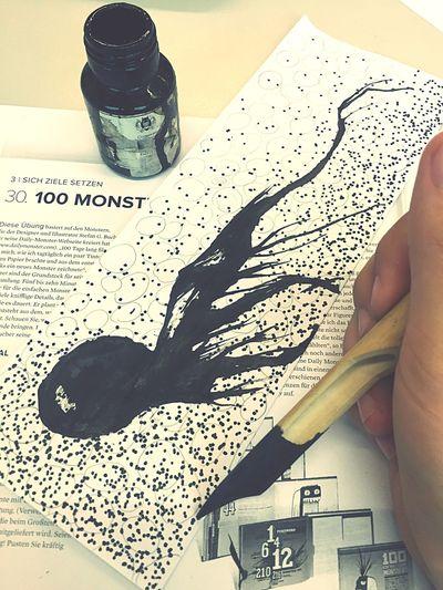 My little monster Monster Art School Ink Black Me Selfmade Krake KayMar Underwatermonster