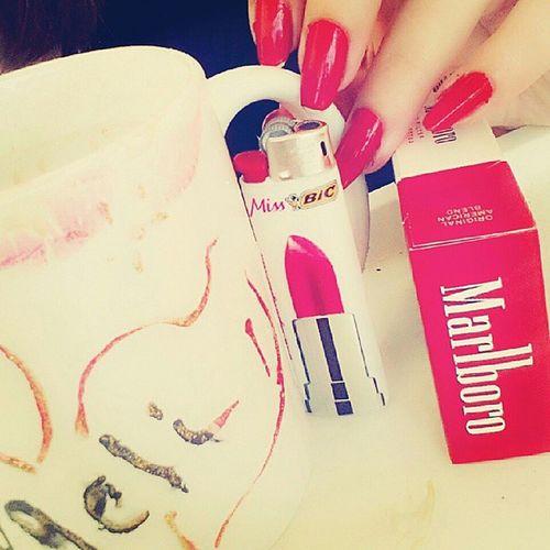 Goodmorning Sabahalkher Coffee Smoking red manicure nails happy abudhabi albateen uae ♡