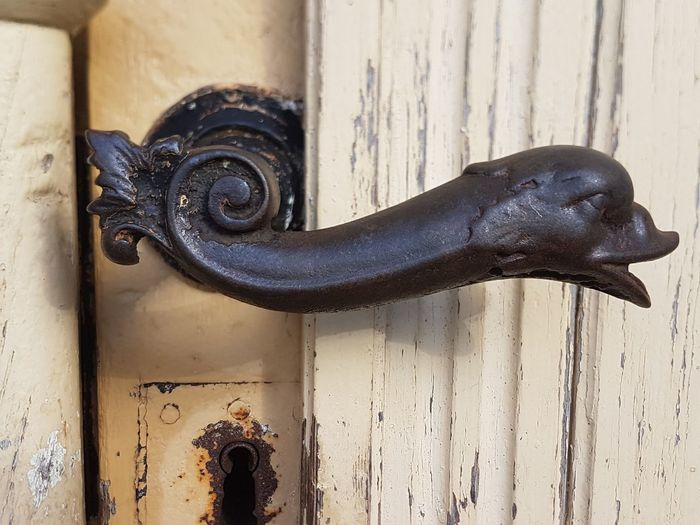 Metal Door Wood - Material Entrance Safety Close-up No People Protection Knob Doorknob Rusty Closed Old Lock Focus On Foreground Day Design Handle Weathered Latch Ornate Wrought Iron Art And Craft