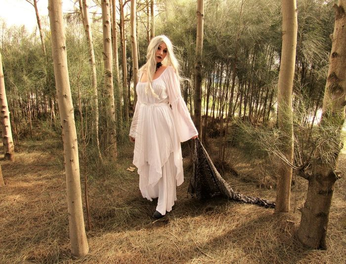 Angela Caven Adult Adults Only Blond Hair Bride Day Full Length Nature One Person One Woman Only Only Women Outdoors People Stage Make-up Tree Walking In Forest Wedding Dress Premium Collection