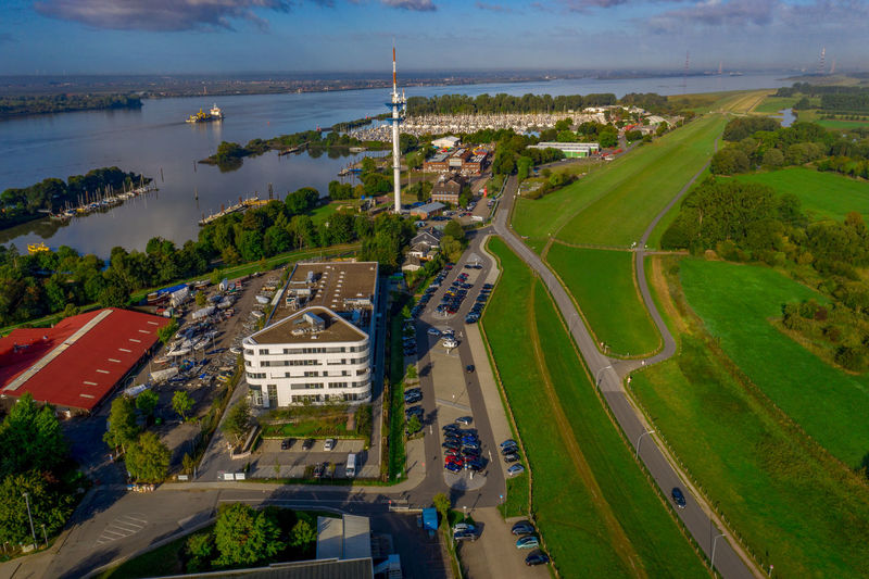 Elbe River Panorama Schleswig-Holstein Wedel, Schulau Architecture Birds Eye View Building City Cityscape Day Dike Elbe High Angle View Meadow Nature Outdoors Panorama View Plant Schleswig Holstein Sea Tree View From Above Water Wedel