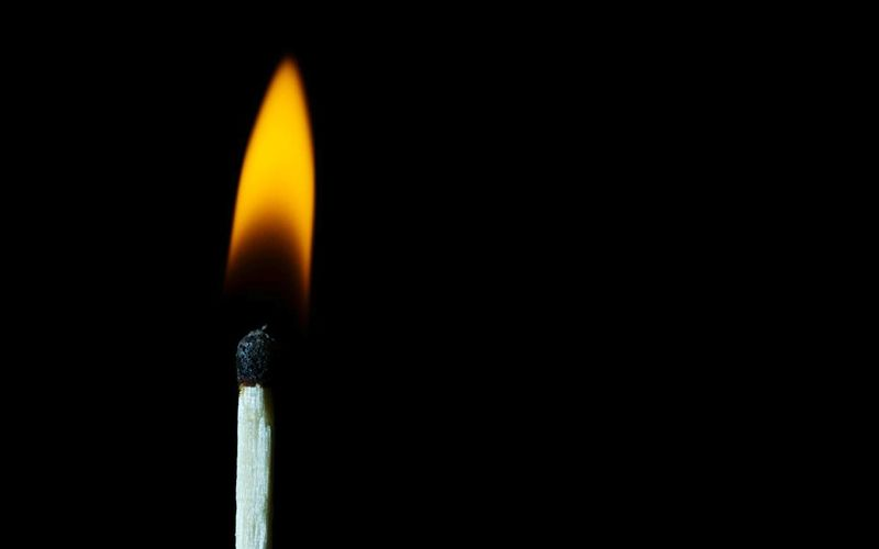 Burning Flame Matchstick Heat - Temperature Studio Shot Black Background Close-up No People Photography Illuminated Luminosity Yellow Perspectives On Nature
