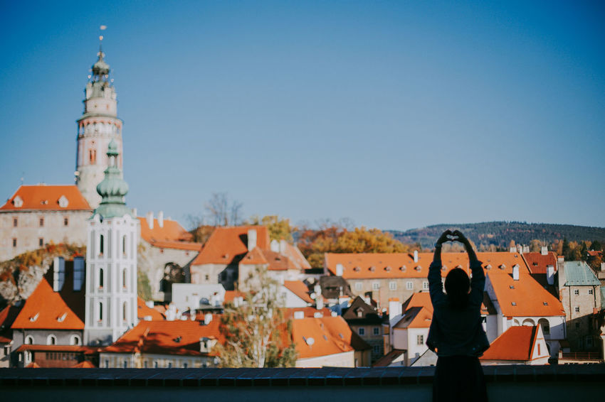 Czech Republic Love Sunny Woman Architecture Building Exterior Built Structure City Cityscape Clear Sky Day Europe Leisure Activity Lifestyles Nature One Person Outdoors Real People Travel Destinations Český Krumlov Go Higher